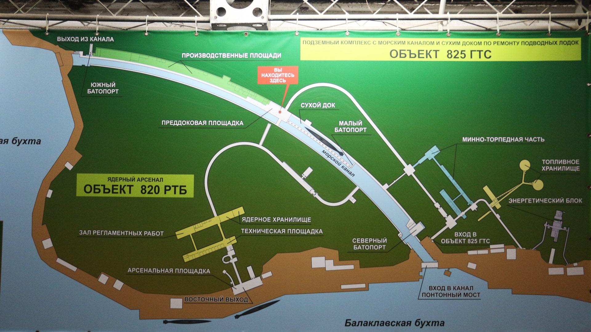 Карта Балаклавского музея подводных лодок